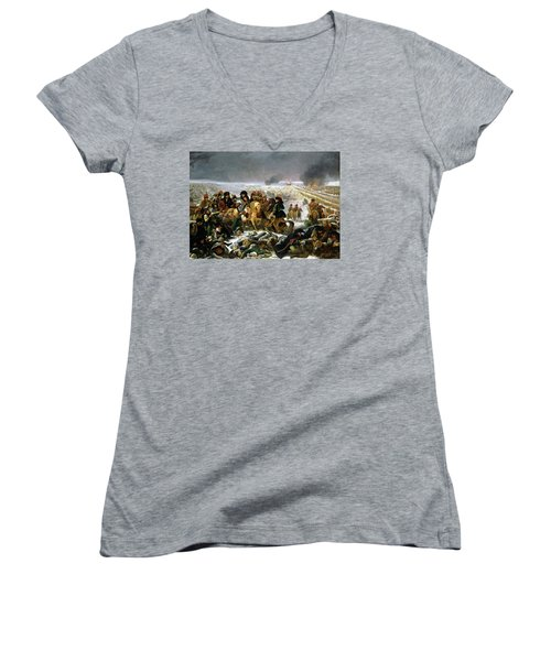 Women's V-Neck T-Shirt (Junior Cut) featuring the painting Napoleon At Eylau  by Antoine Jean Gros