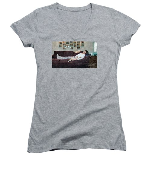 Naptime With The Boys Women's V-Neck T-Shirt