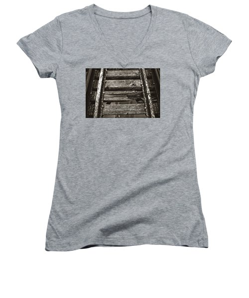 Narrow Gauge Tracks #photography #art #trains Women's V-Neck (Athletic Fit)