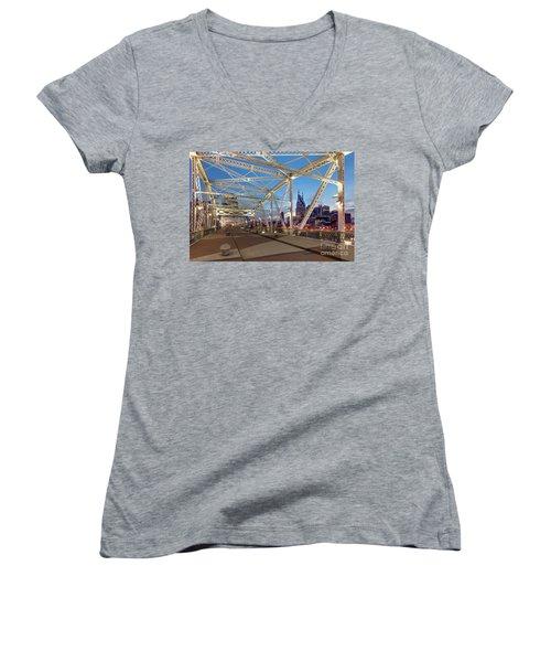 Women's V-Neck T-Shirt (Junior Cut) featuring the photograph Nashville Bridge by Brian Jannsen