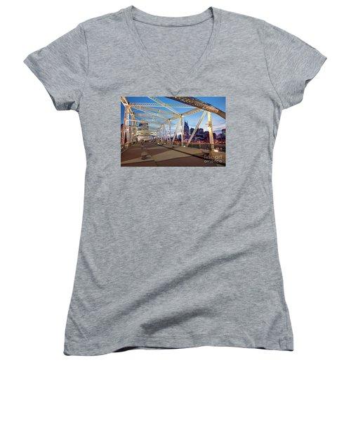 Women's V-Neck T-Shirt (Junior Cut) featuring the photograph Nashville Bridge II by Brian Jannsen