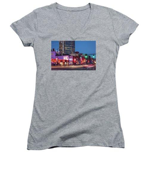 Women's V-Neck T-Shirt (Junior Cut) featuring the photograph Nashville - Broadway Street by Brian Jannsen