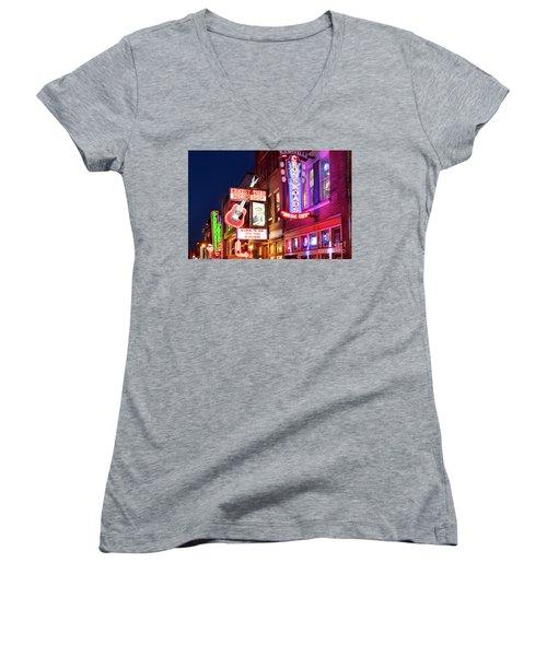 Women's V-Neck T-Shirt (Junior Cut) featuring the photograph Nashville Signs by Brian Jannsen