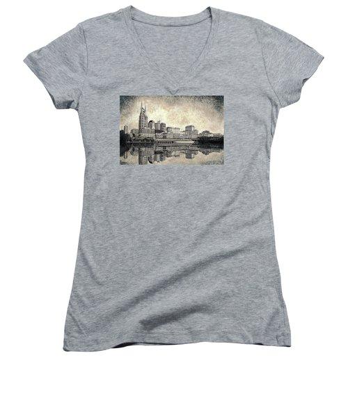 Nashville Skyline II Women's V-Neck T-Shirt (Junior Cut) by Janet King