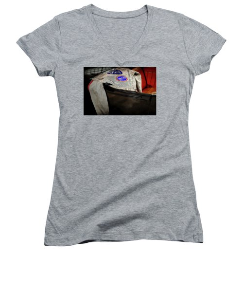 National Hot Rod Women's V-Neck T-Shirt (Junior Cut) by Jerry Golab