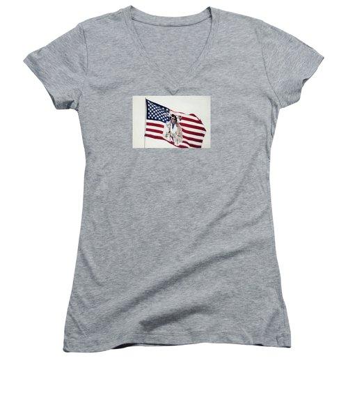 Native American Flag Women's V-Neck T-Shirt (Junior Cut) by Emanuel Tanjala