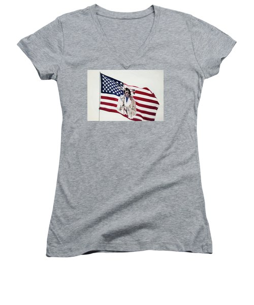Native American Flag Women's V-Neck