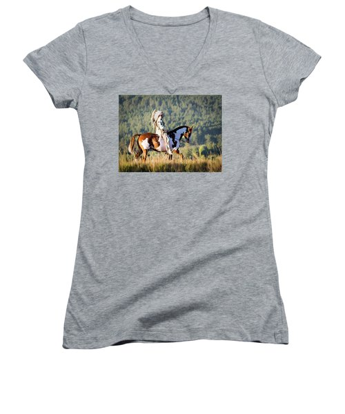 Native American On His Paint Horse Women's V-Neck T-Shirt (Junior Cut)