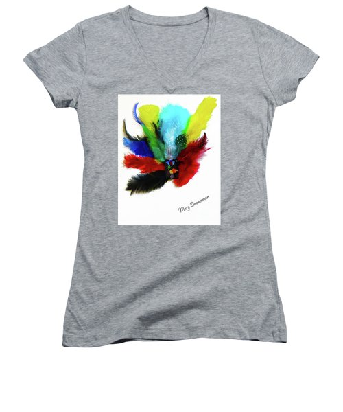 Native American Tribal Feathers Women's V-Neck T-Shirt