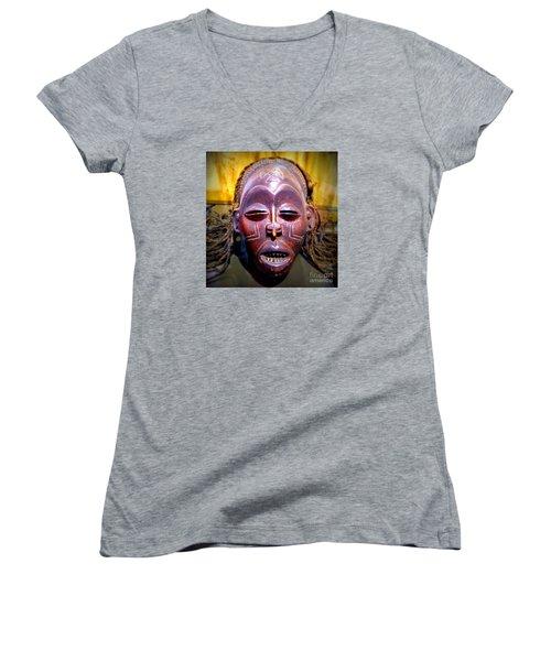 Native Mask Women's V-Neck T-Shirt (Junior Cut) by John Potts