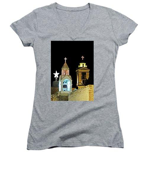 Women's V-Neck T-Shirt (Junior Cut) featuring the photograph Nativity Church Lights by Munir Alawi