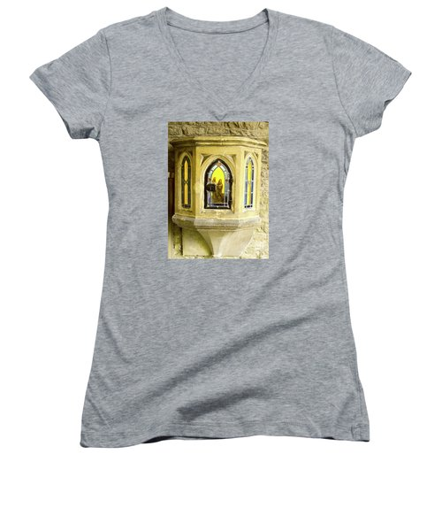 Nativity In Ancient Stone Wall Women's V-Neck T-Shirt (Junior Cut) by Linda Prewer