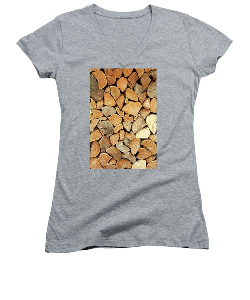 Natural Wood Women's V-Neck T-Shirt (Junior Cut) by AugenWerk Susann Serfezi