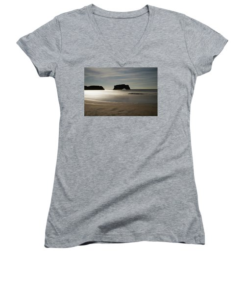 Natural Bridges State Beach Sand Women's V-Neck (Athletic Fit)