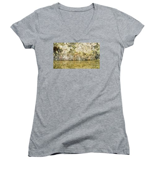 Women's V-Neck T-Shirt (Junior Cut) featuring the photograph Natural Stone Background by Torbjorn Swenelius