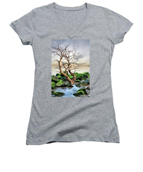 Natural Surroundings Women's V-Neck T-Shirt (Junior Cut) by Angel Jesus De la Fuente