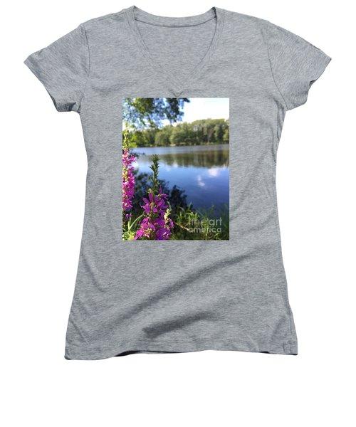 Nature Channelling  Women's V-Neck T-Shirt (Junior Cut) by Jason Nicholas