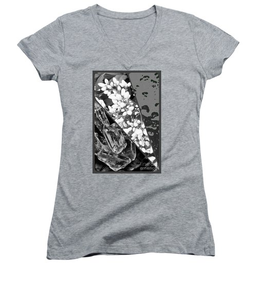 Nature Collage In Black And White Women's V-Neck T-Shirt
