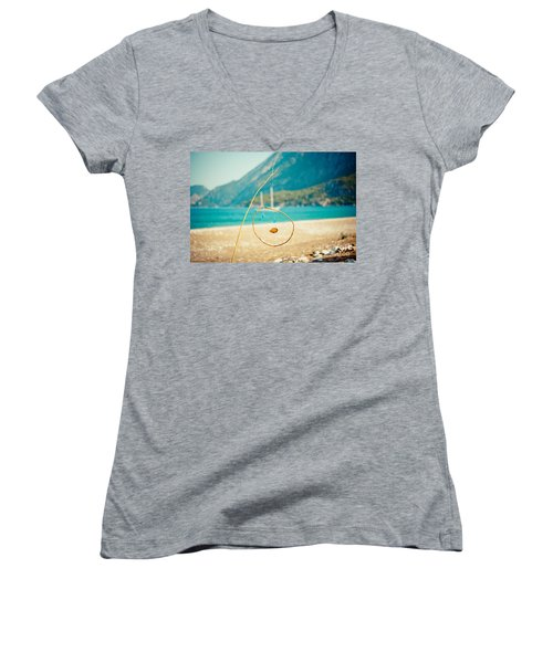 Nature Sculpture At Coast Seascape Artmif.lv Women's V-Neck