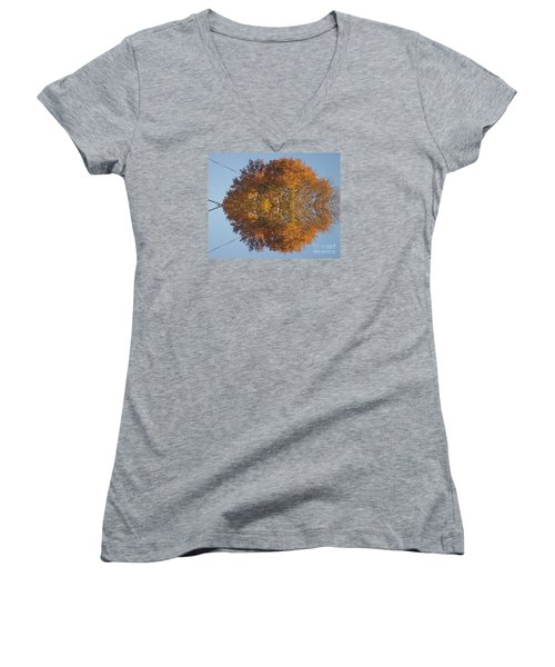 Women's V-Neck T-Shirt (Junior Cut) featuring the photograph Nature Unleashed by Christina Verdgeline
