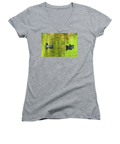 Nature's Impressionist Art No.3 Women's V-Neck T-Shirt (Junior Cut) by Janice Adomeit