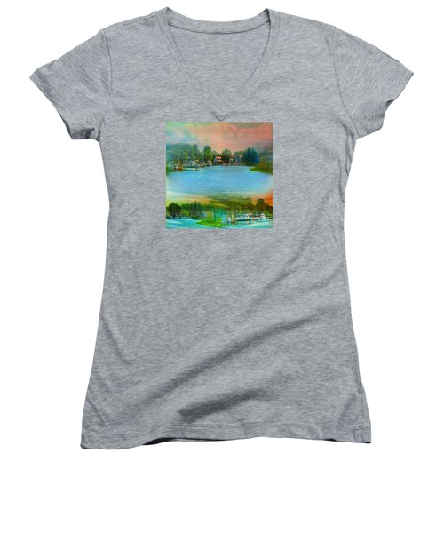 Nature's Magical Sunsets Women's V-Neck T-Shirt (Junior Cut) by Judy Palkimas