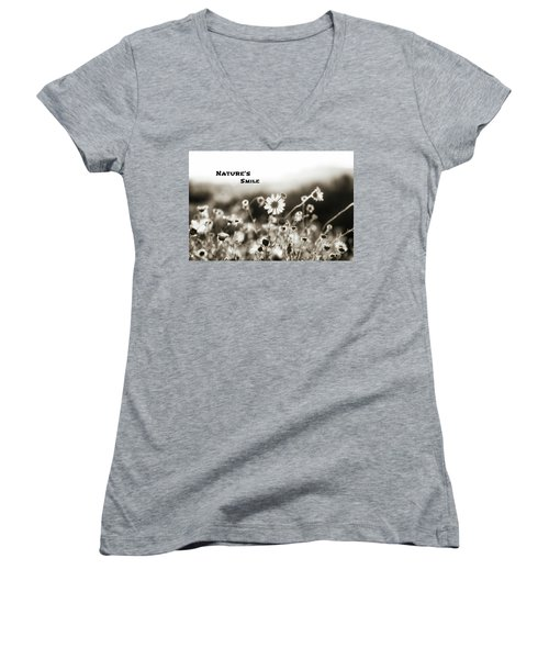 Nature's  Smile Monochrome Women's V-Neck T-Shirt (Junior Cut)