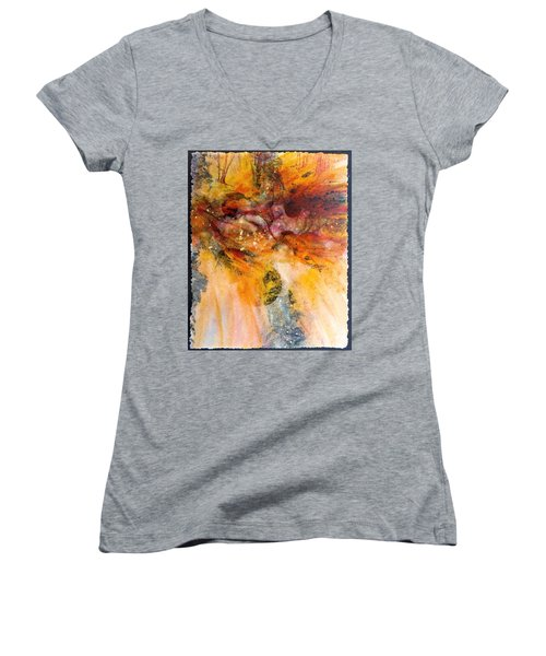 Naturescape In Red Women's V-Neck T-Shirt
