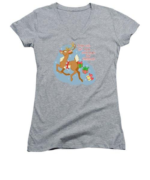 Naughty Reindeer Women's V-Neck T-Shirt