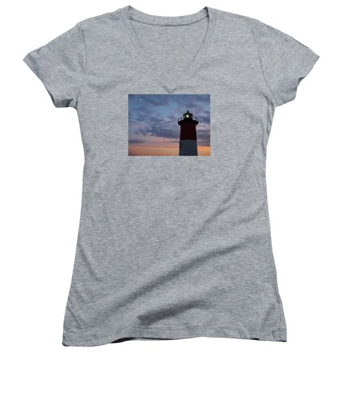 Women's V-Neck T-Shirt (Junior Cut) featuring the photograph Nauset Light Lighthouse At Sunset by Marianne Campolongo