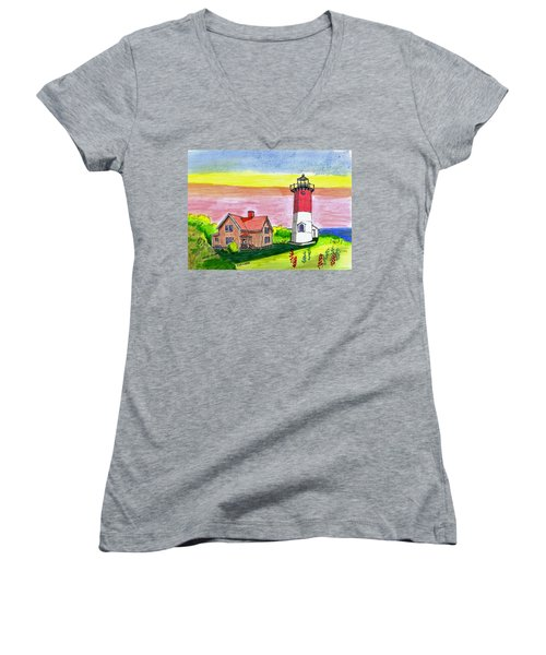 Nauset Point Lighthouse Women's V-Neck T-Shirt