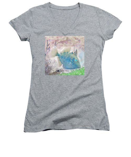 Women's V-Neck T-Shirt (Junior Cut) featuring the photograph Nautical Beach And Fish #2 by Debra and Dave Vanderlaan