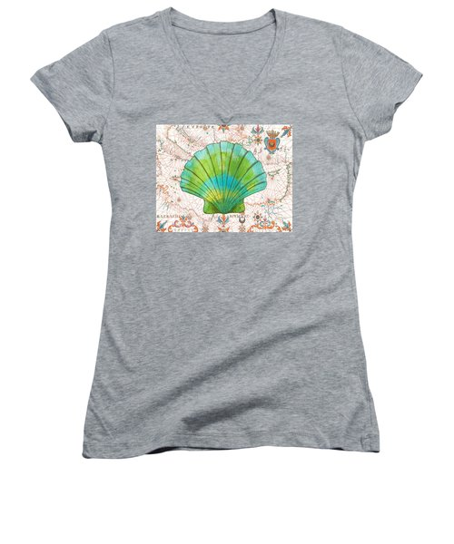 Women's V-Neck T-Shirt (Junior Cut) featuring the painting Nautical Treasures-b by Jean Plout