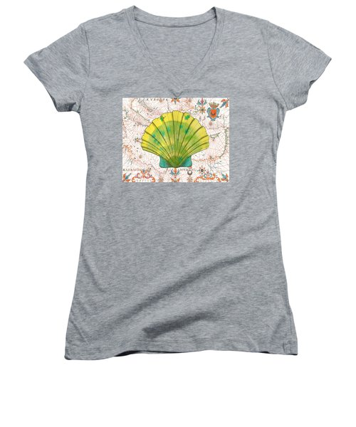 Women's V-Neck T-Shirt (Junior Cut) featuring the painting Nautical Treasures-d by Jean Plout