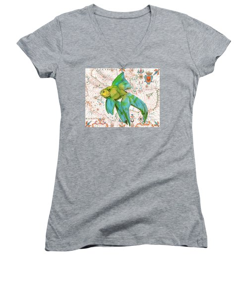 Women's V-Neck T-Shirt (Junior Cut) featuring the painting Nautical Treasures-e by Jean Plout