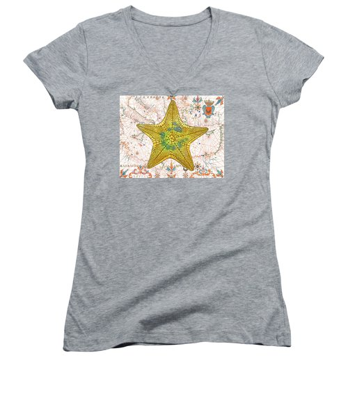 Women's V-Neck T-Shirt (Junior Cut) featuring the painting Nautical Treasures-j by Jean Plout