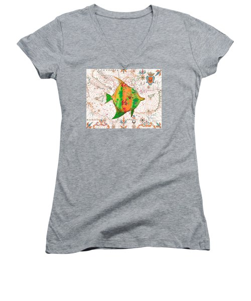 Women's V-Neck T-Shirt (Junior Cut) featuring the painting Nautical Treasures-q by Jean Plout