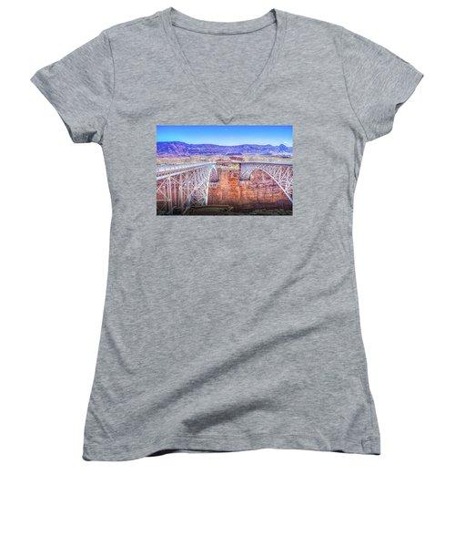 Navajo Bridge Women's V-Neck T-Shirt (Junior Cut) by Mark Dunton
