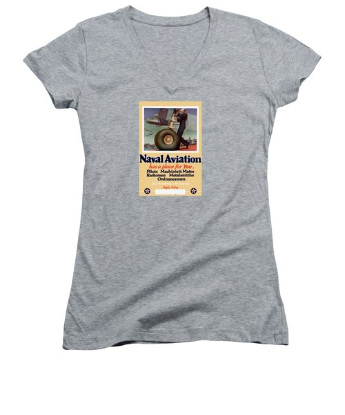 Naval Aviation Has A Place For You Women's V-Neck T-Shirt (Junior Cut) by War Is Hell Store