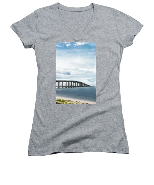 Women's V-Neck T-Shirt (Junior Cut) featuring the photograph Navarre Bridge In Florida On The Sound Side by Shelby Young