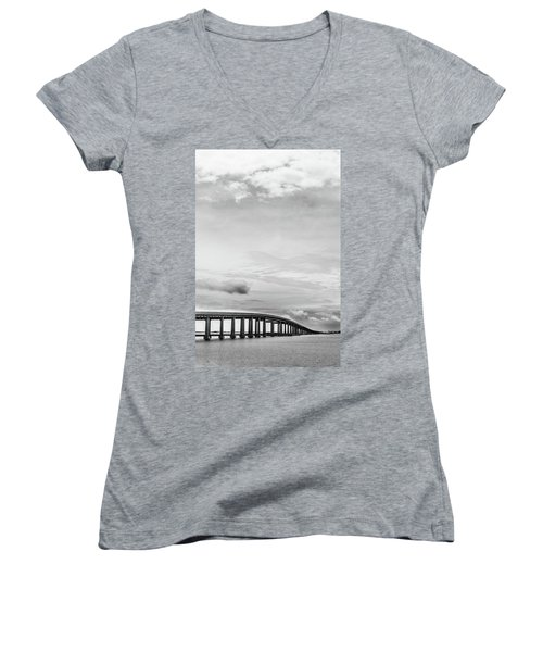 Women's V-Neck T-Shirt (Junior Cut) featuring the photograph Navarre Bridge Monochrome by Shelby Young