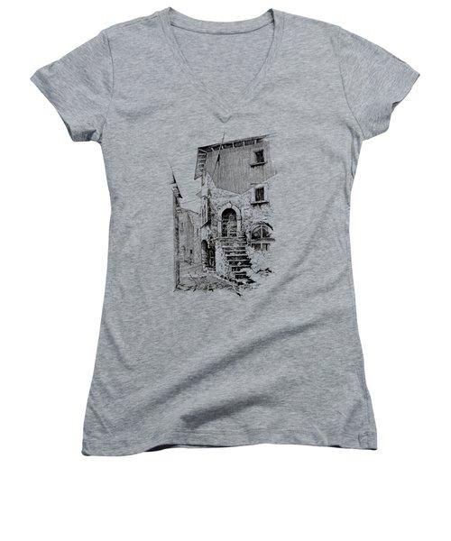Navelli Dip Pen Sketch  Women's V-Neck T-Shirt