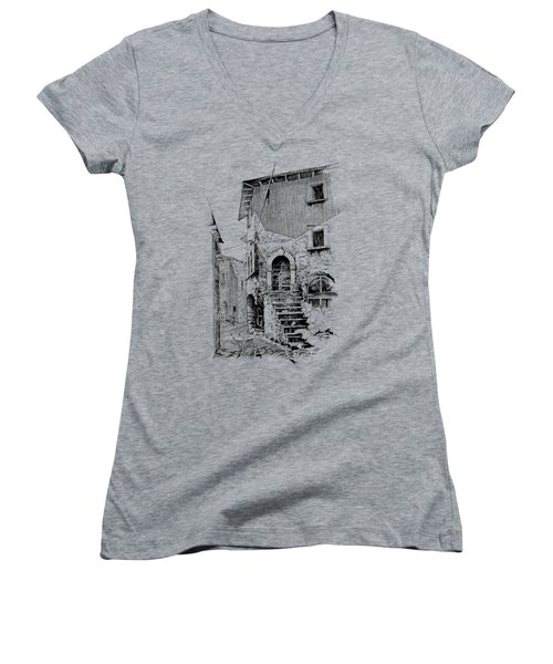 Navelli Dip Pen Sketch  Women's V-Neck