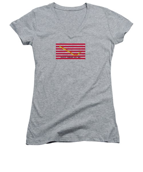 Navy Jack Flag - Don't Tread On Me Women's V-Neck (Athletic Fit)