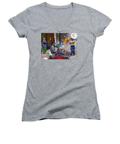 Nawlins Women's V-Neck T-Shirt (Junior Cut) by John Kolenberg