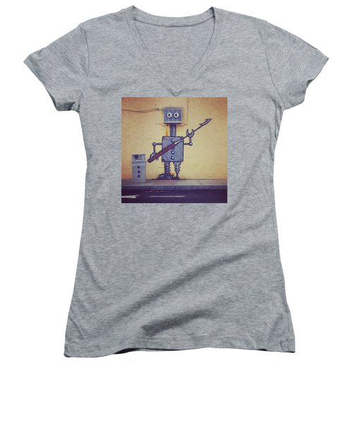 Street Art Robot Women's V-Neck