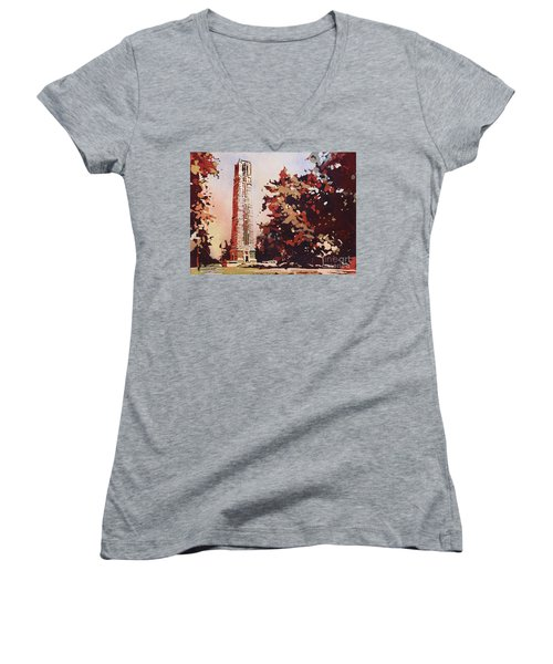 Women's V-Neck T-Shirt (Junior Cut) featuring the painting Ncsu Bell-tower II by Ryan Fox