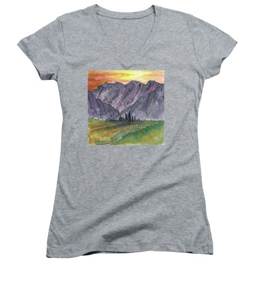Near Canyon Entrance Women's V-Neck T-Shirt (Junior Cut) by R Kyllo