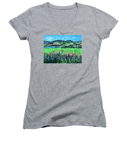 Women's V-Neck T-Shirt (Junior Cut) featuring the painting Near Cooperstown by Betty Pieper
