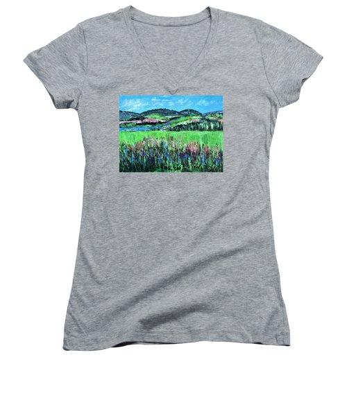 Near Cooperstown Women's V-Neck T-Shirt (Junior Cut) by Betty Pieper
